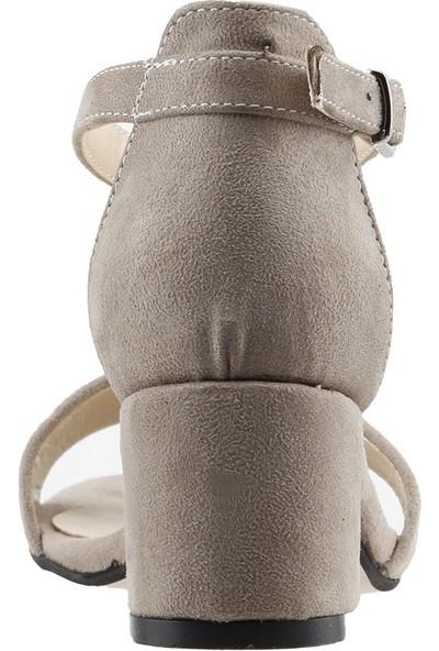 Ayakland Bsm 62 Günlük 5 Cm Topuk Kadın Süet Sandalet Ayakkabı Vizon