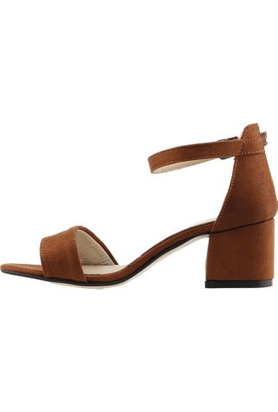Ayakland Bsm 62 Günlük 5 Cm Topuk Kadın Süet Sandalet Ayakkabı Kahverengi