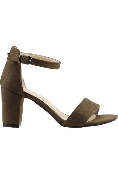 Ayakland Bsm 62 Günlük 7 Cm Topuk Kadın Süet Sandalet Ayakkabı Yeşil