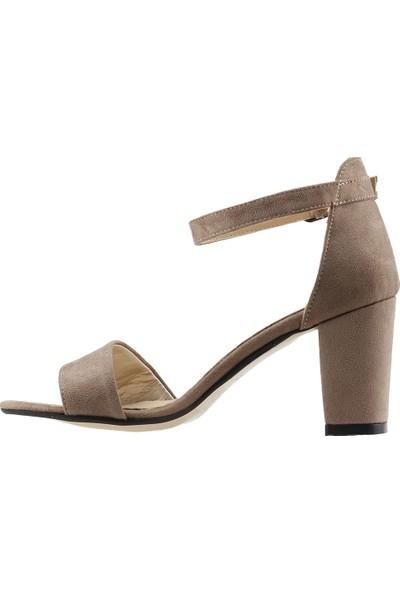 Ayakland Bsm 62 Günlük 7 Cm Topuk Kadın Süet Sandalet Ayakkabı Vizon