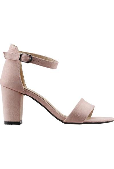 Ayakland Bsm 62 Günlük 7 Cm Topuk Kadın Süet Sandalet Ayakkabı Pudra