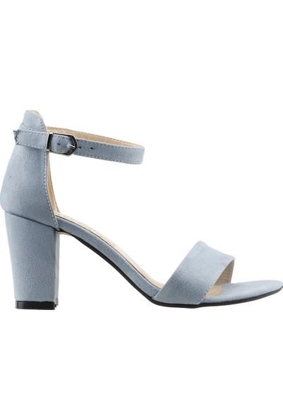 Ayakland Bsm 62 Günlük 7 Cm Topuk Kadın Süet Sandalet Ayakkabı Mavi