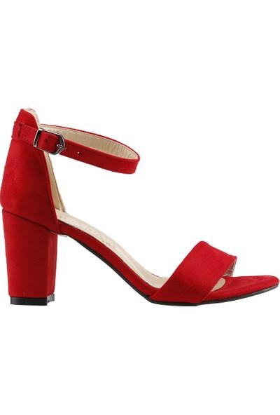 Ayakland Bsm 62 Günlük 7 Cm Topuk Kadın Süet Sandalet Ayakkabı Kırmızı