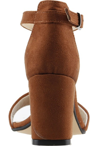 Ayakland Bsm 62 Günlük 7 Cm Topuk Kadın Süet Sandalet Ayakkabı Kahverengi