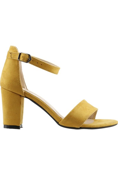Ayakland Bsm 62 Günlük 7 Cm Topuk Kadın Süet Sandalet Ayakkabı Hardal