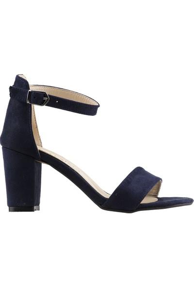Ayakland Bsm 62 Günlük 7 Cm Topuk Kadın Süet Sandalet Ayakkabı Lacivert