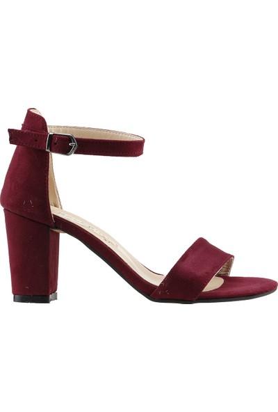 Ayakland Bsm 62 Günlük 7 Cm Topuk Kadın Süet Sandalet Ayakkabı Bordo