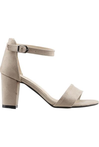 Ayakland Bsm 62 Günlük 7 Cm Topuk Kadın Süet Sandalet Ayakkabı Bej