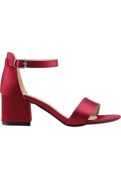 Ayakland Bsm 62 Günlük 5 Cm Topuk Kadın Saten Sandalet Ayakkabı Kırmızı