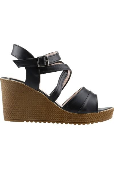 Annamaria 207 Günlük 8 Cm Dolgu Topuk Kadın Cilt Sandalet Siyah