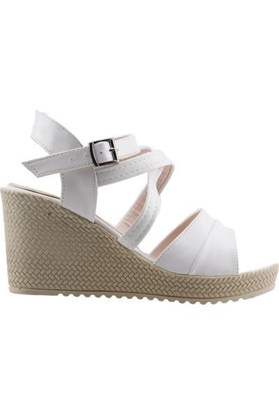Annamaria 207 Günlük 8 Cm Dolgu Topuk Kadın Cilt Sandalet Beyaz
