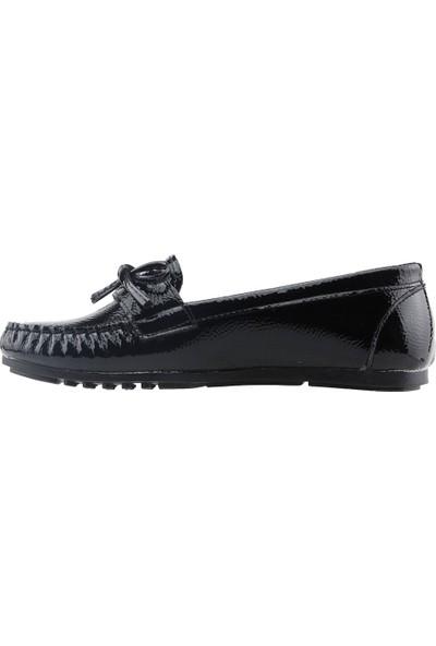 Annamaria R-06 Günlük Yürüyüş Rugan Kadın Babet Ayakkabı Siyah