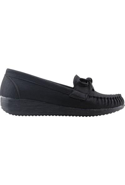 Annamaria T-06 Günlük Yürüyüş Kot Kadın Babet Ayakkabı Siyah