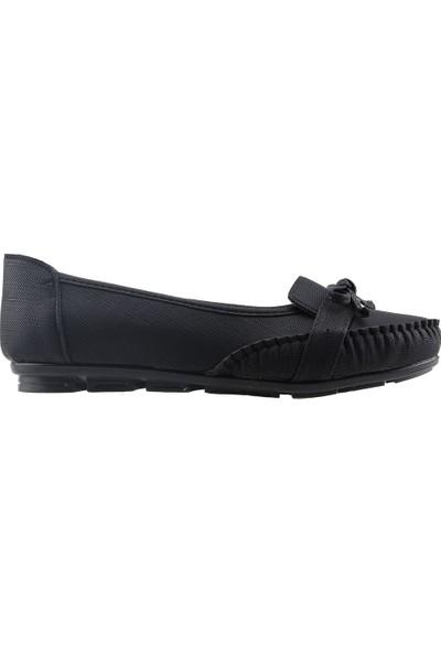 Annamaria V-09 Günlük Büyük Numara Kot Kadın Babet Ayakkabı Siyah