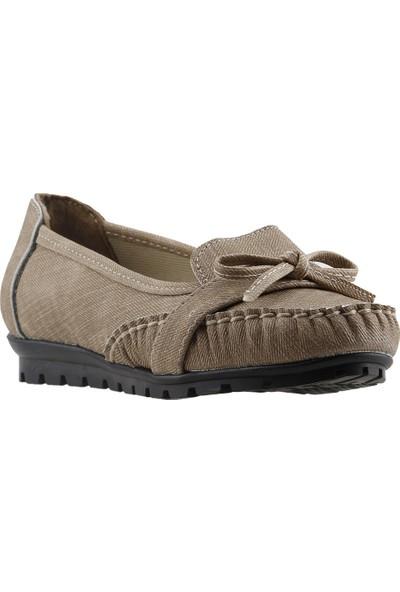 Annamaria V-09 Günlük Yürüyüş Kot Kadın Babet Ayakkabı Vizon
