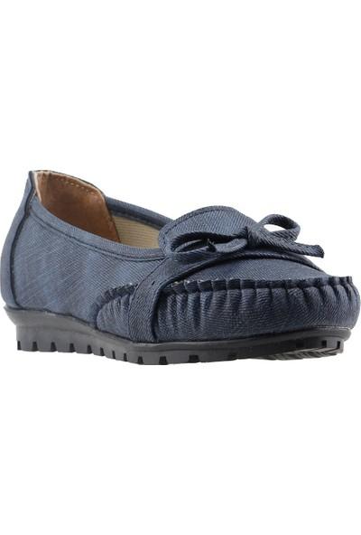 Annamaria V-09 Günlük Yürüyüş Kot Kadın Babet Ayakkabı Lacivert