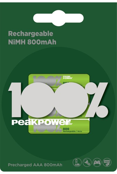 Peak Power 4'lü 800 mAh AAA Boy İnce Kalem Şarjlı Pil