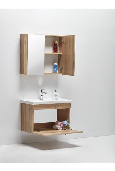 Hepsi Home Saydam Stil 80 cm Banyo Dolabı Meşe