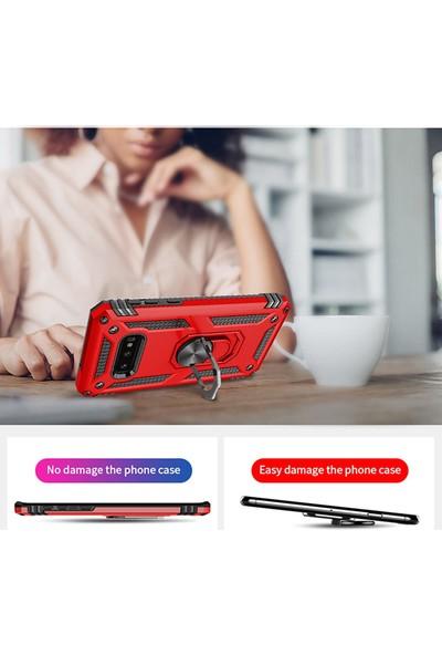 KNY Samsung Galaxy S10 E Kılıf Çift Katmanlı Yüzüklü Manyetik Vega Kapak+Cam Ekran Koruyucu