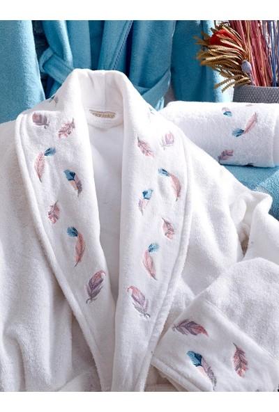 Dantela Vita Pamuk Aile Bornoz Seti - Oriel Beyaz/mavi