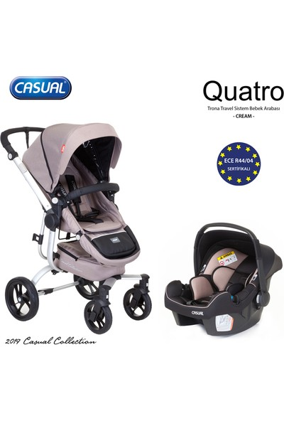 Casual Quatro Trona Travel Sistem Bebek Arabası - Cream