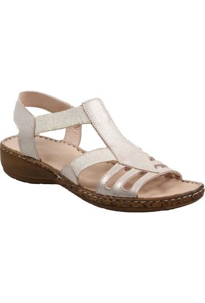 Catelli Kadın Ortapedik Bej Hakiki Deri Sandalet
