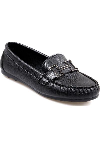 Piolin Düz Taban Siyah Günlük Kadın Ayakkabı