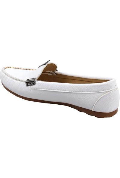 Piolin Düz Taban Beyaz Günlük Kadın Ayakkabı