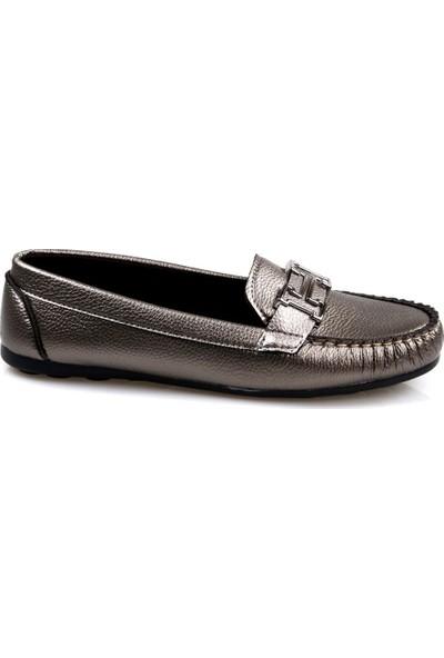 Piolin Düz Taban Füme Günlük Kadın Ayakkabı