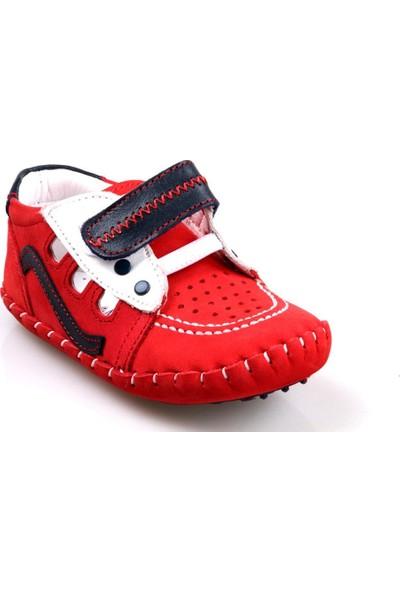 Rüzgar Bebe Erkek Çocuk Bebe Ortapedik Kırmızı Deri İlk Adım Ayakkabı