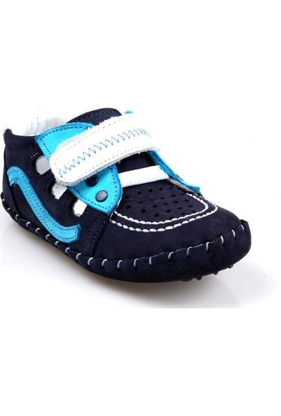 Rüzgar Bebe Erkek Çocuk Bebe Ortapedik Lacivert Deri İlk Adım Ayakkabı