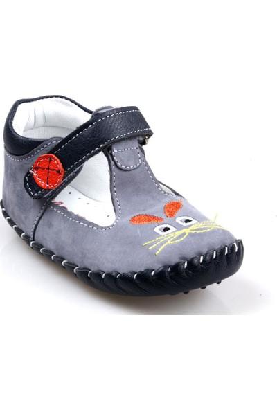 Rüzgar Bebe Erkek Çocuk Bebe Ortapedik Füme Deri İlk Adım Ayakkabı