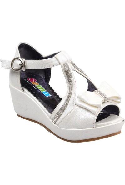 Sema Kız Çocuk(26-30) Dolgu Taban Beyaz Sandalet