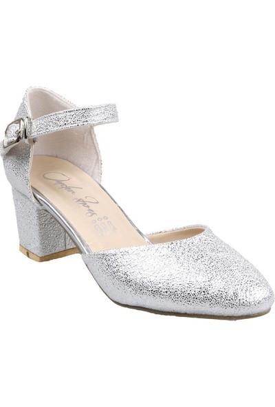 Sema Kız Çocuk(31-36) Topuklu Gri Abiye Ayakkabı