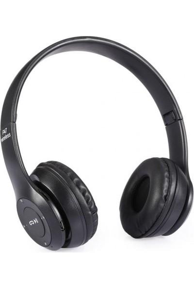 Azr P47 Katlanalabilir 2.4+Edr Kablosuz Bluetooth Kulaklık Si̇yah