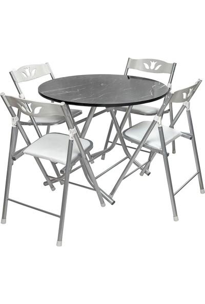 Sinem Siyah 90X90 Yuvarlak Katlanır Masa Sandalye Takımı Wht