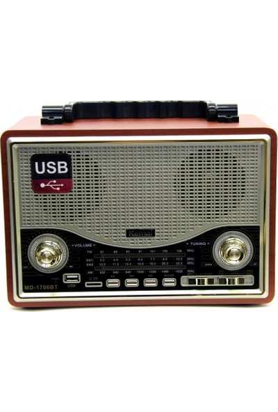 Kemai Smartsepet Md-1706Bt Bluetooth Usb Sd Fm Nostaljik Görünümlü Radyo