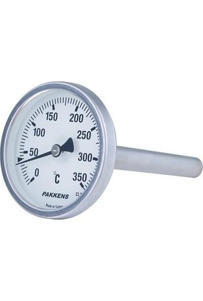 Pakkens Termometre 0-160 °C Çap 63 mm Daldırma Boyu 5 cm Arkadan Bağlantılı G 1/2 inç