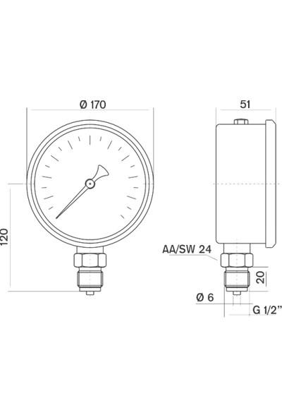 Pakkens 0-25 Bar 160 mm Alttan Bağlantılı Gliserinli Manometre G 1/2 inç