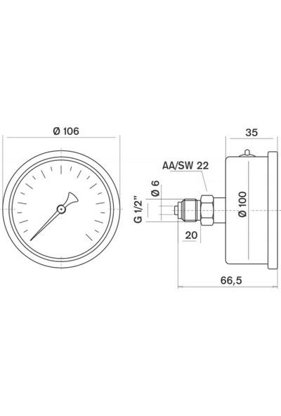 Pakkens 0-250 Bar 100 mm Arkadan Bağlantılı Panotipi Gliserinli Manometre G 1/2 inç