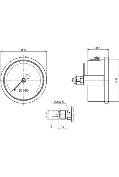Pakkens 0-250 Bar 63 mm Arkadan Bağlantılı Panotipi Gliserinli Manometre G 1/4 inç