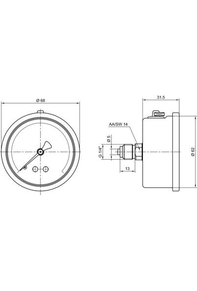 Pakkens 0-100 Bar 63 mm Arkadan Bağlantılı Gliserinli Manometre G 1/4 inç