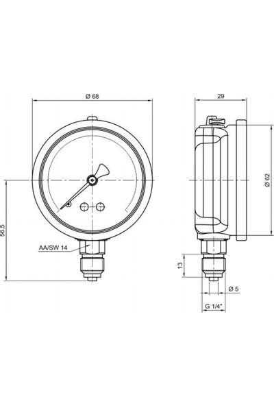 Pakkens 0-10 Bar 63 mm Alttan Bağlantılı Gliserinli Manometre G 1/4 inç