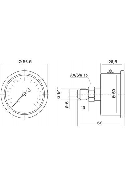 Pakkens 0-100 Bar 50 mm Arkadan Bağlantılı Gliserinli Manometre G 1/4 inç