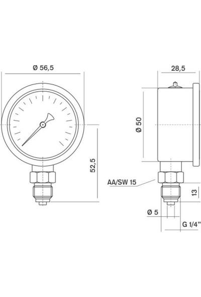Pakkens 0-100 Bar 50 mm Alttan Bağlantılı Gliserinli Manometre G 1/4 inç