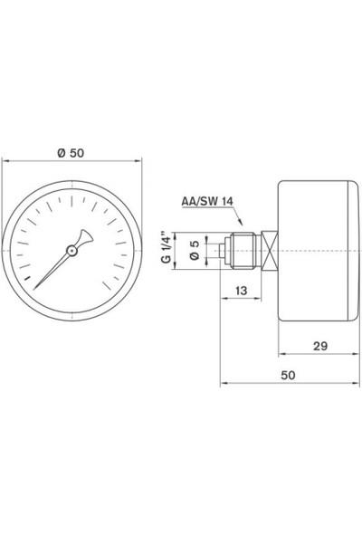 Pakkens 0-10 Bar 50 mm Arkadan Bağlantılı Kuru Manometre G 1/8 inç