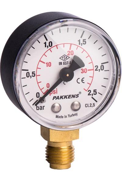 Pakkens 0-16 Bar 50 mm Alttan Bağlantılı Kuru Manometre G 1/4 inç
