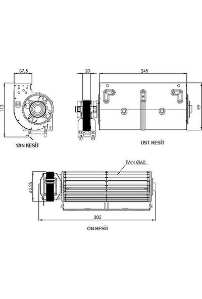 AIRCOL AKS 680-240 Tanjansiyel Radyal Fan 245 mm Genişilk 160 m³/h