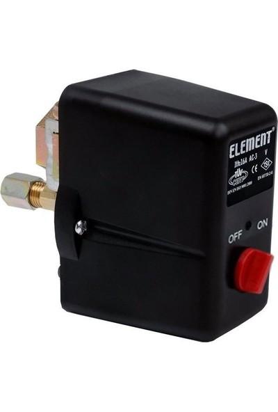 Element 4-16 Bar Basınç Şalteri Tahliyeli On/Off Trifaze 1/2 Bağlantılı