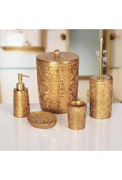 Emin Aksesuar Banyo Seti 5 Parça Polyester Altın